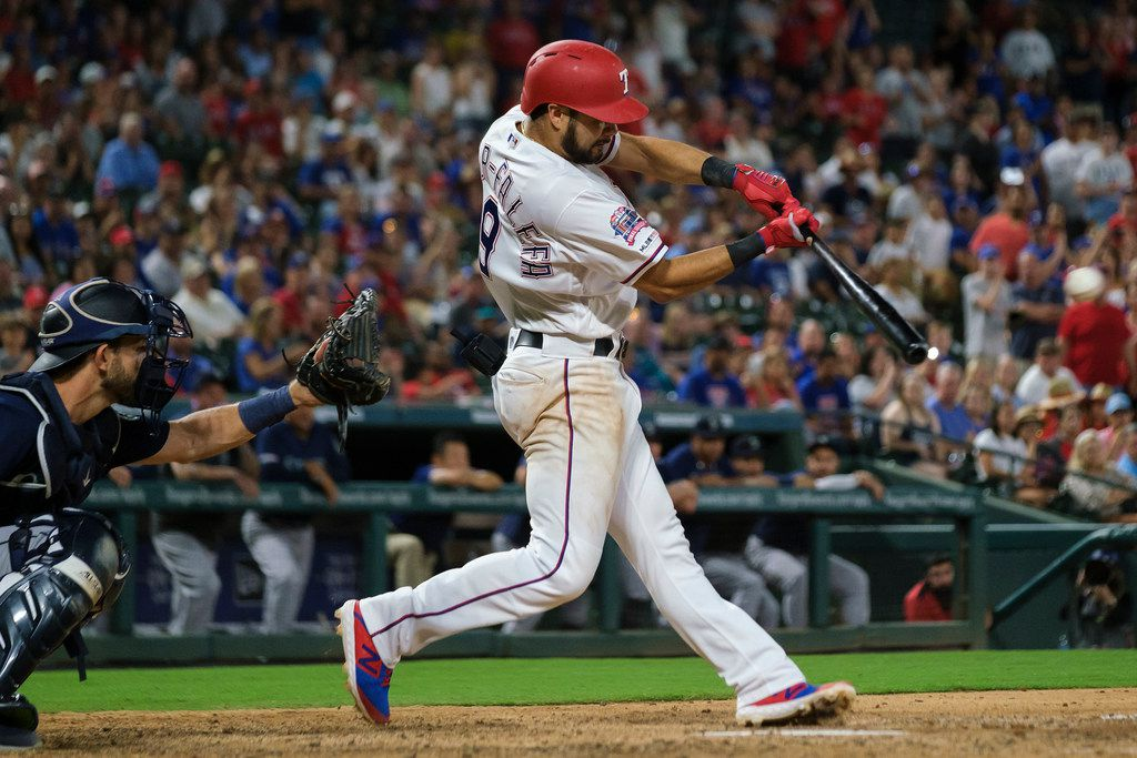 Texas Rangers third baseman Isiah Kiner-Falefa connects to drive in the winning run with a single in the bottom of the ninth inning against the Seattle Mariners at Globe Life Park on Saturday, Aug. 31, 2019, in Arlington. (Smiley N. Pool/The Dallas Morning News)