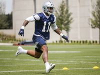 Dallas Cowboys linebacker Micah Parsons (11) runs drills during the Cowboys second OTA practice on Thursday, June 3, 2021, at the Star in Frisco.