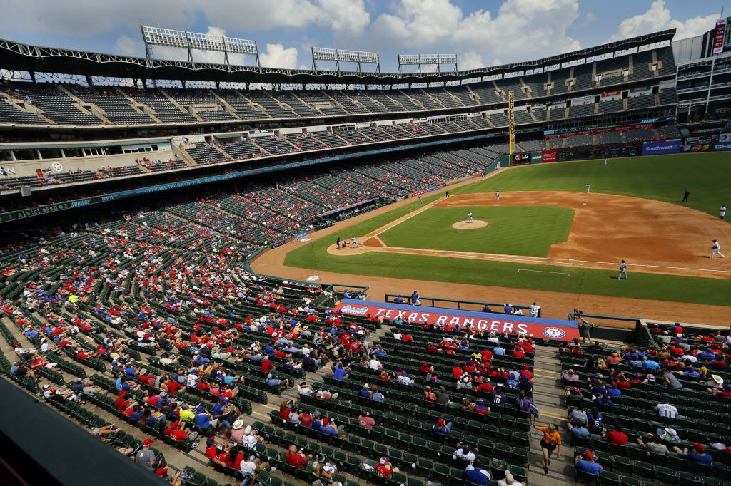 A smattering of Texas Rangers watch the afternoon game with the Seattle Mariners in the third inning at Globe Life Park in Arlington, Wednesday, August 31, 2016. The (Tom Fox/The Dallas Morning News)