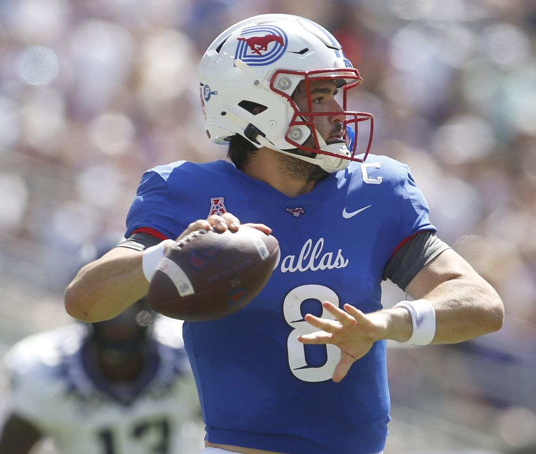 SMU quarterback Tanner Mordecai (8) looks to pass during the second quarter of play against TCU. The two teams played their NCAA football game at Amon G. Carter Stadium on the campus of TCU in Fort Worth on September 25, 2021. (Steve Hamm/ Special Contributor)