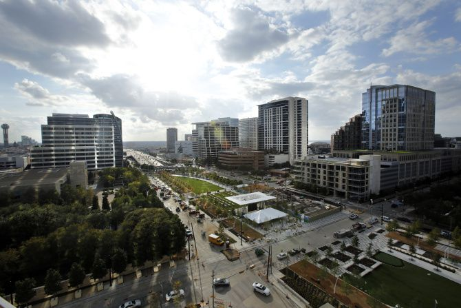 Overall view of Klyde Warren Park and downtown and Uptown, as seen from Museum Tower in Dallas, TX on October 23, 2012. The trees at far left are the Nasher Sculpture Center garden.