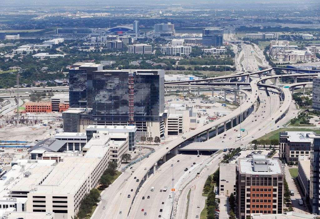 Dallas North Tollway splits Legacy West (left) and Shops of Legacy (right) in Plano.