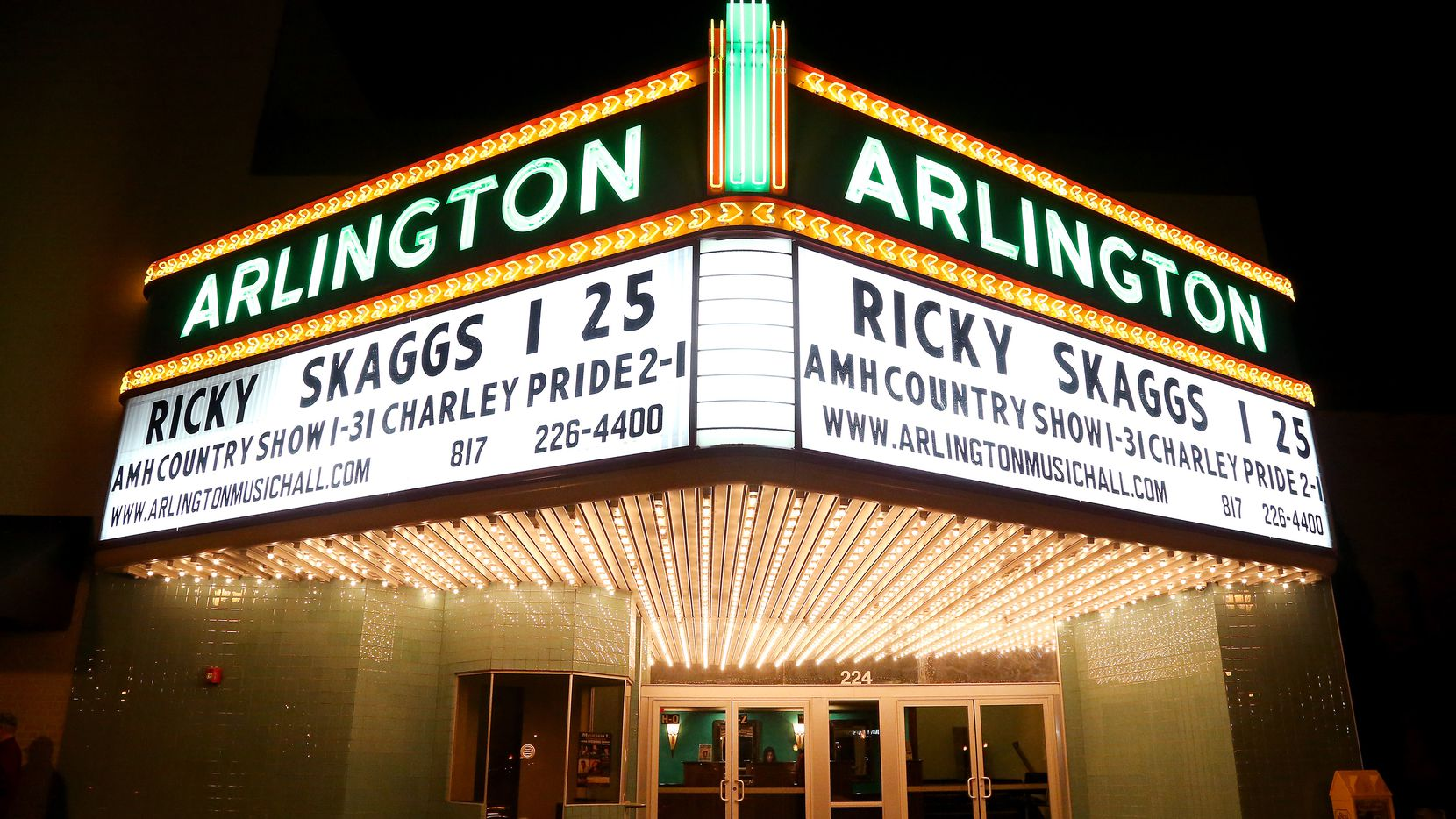 This January 2014 file photo shows the marquee for a Ricky Skaggs and Kentucky Thunder concert at Arlington Music Hall in Arlington, Texas.