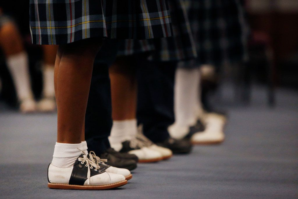 Students perform during a Valentine's Day service at St Philip's School and Community Center in Dallas. (Rose Baca/The Dallas Morning News)
