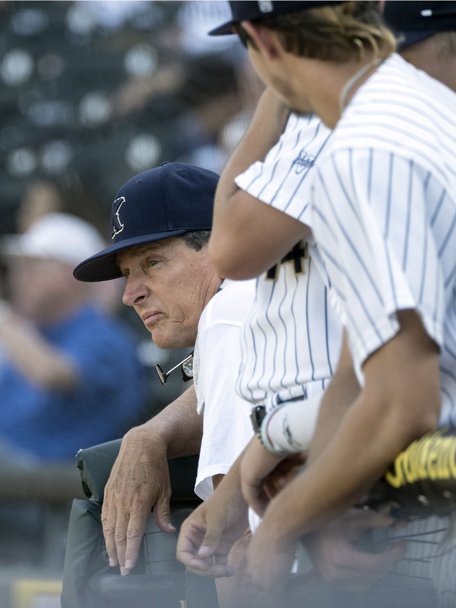 Keller head coach, Rob Stramp, watches action against Houston Strake Jesuit during the 2021 UIL 6A state baseball semifinals held, Friday, June 11, 2021, in Round Rock, Texas. Keller defeated Strake Jesuit 7-1.   (Rodolfo Gonzalez/Special Contributor)