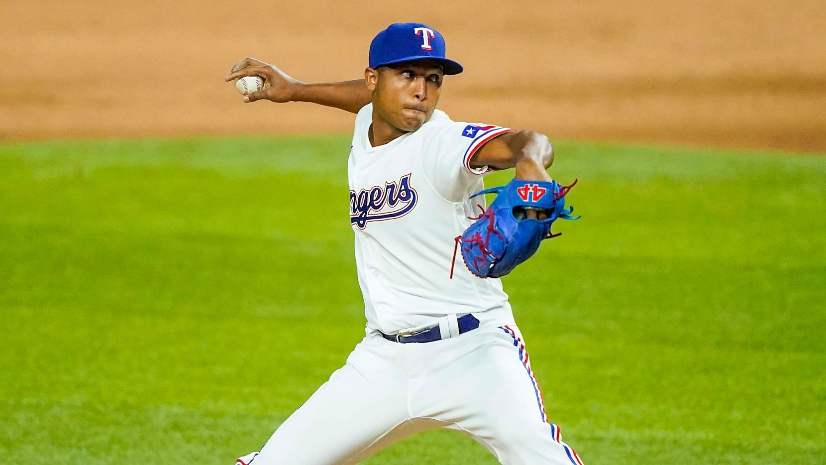 Texas Rangers pitcher Jose Leclerc pitches during the ninth inning on opening day against the Colorado Rockies at Globe Life Field on Friday, July 24, 2020.