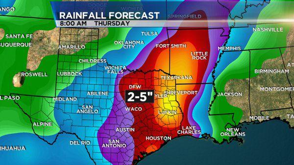 Imagen del pronóstico de lluvias para el norte de Texas del Servicio Metereológico Nacional.