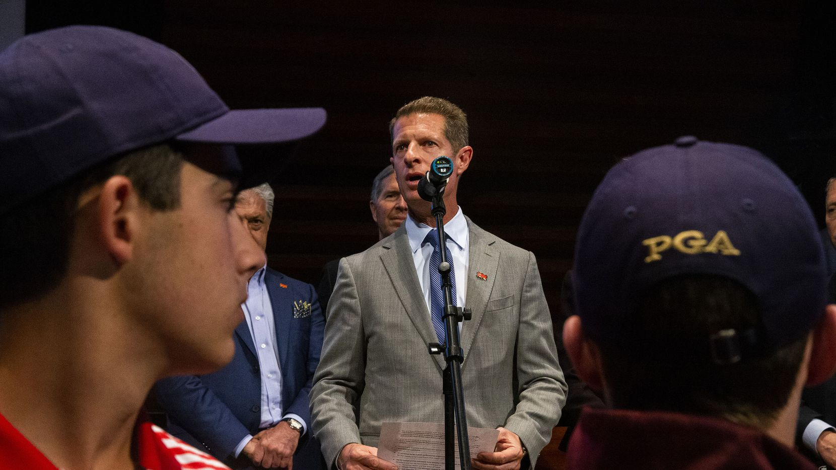 Darrell Crall, PGA of America Chief Operating Officer, makes remarks following a Frisco City Council meeting in this 2018 file photo.