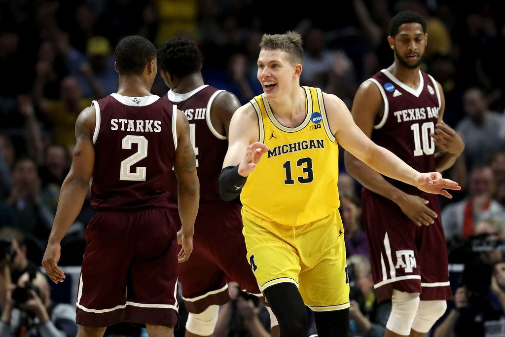 LOS ANGELES, CA - MARCH 22:  Moritz Wagner #13 of the Michigan Wolverines celebrates after making a three-pointer in the first half against the Texas A&M Aggies in the 2018 NCAA Men's Basketball Tournament West Regional at Staples Center on March 22, 2018 in Los Angeles, California.  (Photo by Ezra Shaw/Getty Images)