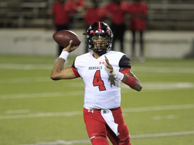Denton Braswell QB Keegan Byrd (4) throws a pass during the first half of a high school football game against Sachse High at Homer B Johnson Stadium in Garland on Thursday, September 9, 2021.