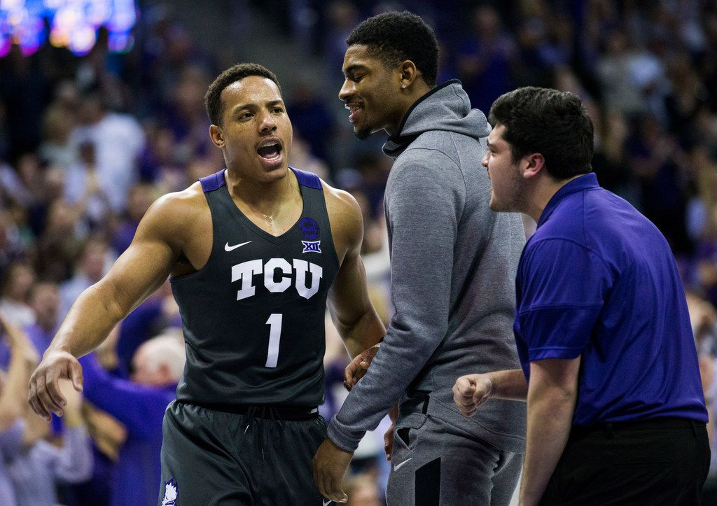 TCU Horned Frogs guard Desmond Bane (1) celebrates after a point during the second half of an NCAA mens basketball game between Baylor and TCU on Saturday, February 29, 2020 at Ed & Rae Schollmaier Arena on the TCU campus in Fort Worth. (Ashley Landis/The Dallas Morning News)
