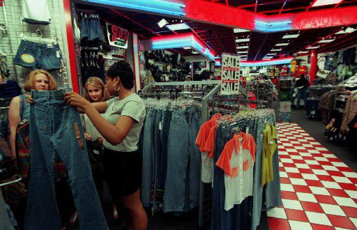 In 1997, Sarah Fitzgerald and Paige DeWees, both  15, got help from sales associate Andrea Jackson,16, while shopping at Gadzooks store at Valley View in Dallas.