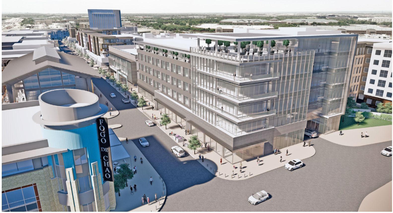 The new  building in Legacy West will have office and retail space and luxury apartments.