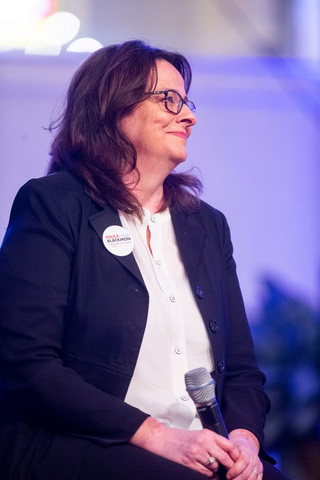 Paula Blackmon gives remarks during a Dallas City Council District 9 candidates forum at Lake Highlands Baptist Church.