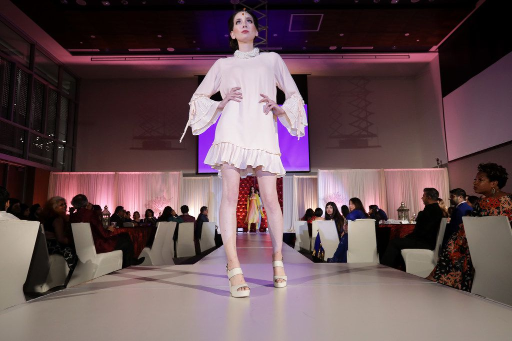 Models walk the runway during the Bollywood to Hollywood charity gala at the University of of Texas at Dallas' Davidson-Gundy Alumni Center in Richardson, TX, on Oct. 14, 2017.