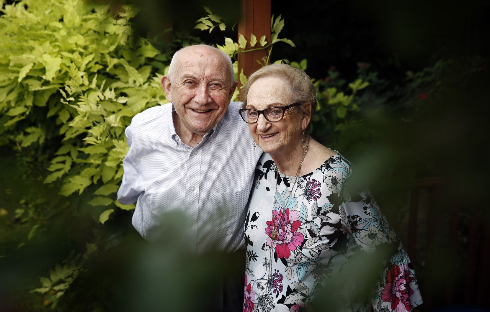 Holocaust survivor Max Glauben and his wife Frieda are photographed outside their Dallas home, Tuesday, August 4, 2020. (Tom Fox/The Dallas Morning News)