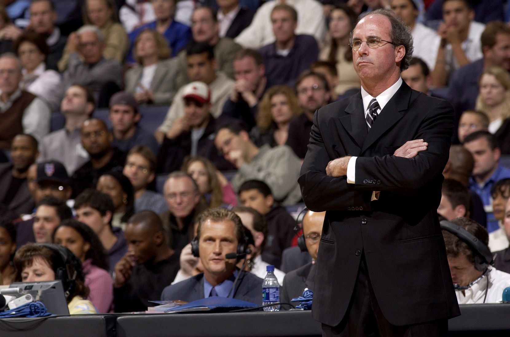 Head Coach Kevin O'Neill watches the game against the Washington Wizards on November 7, 2003 at the MCI Center in Washington, DC.
