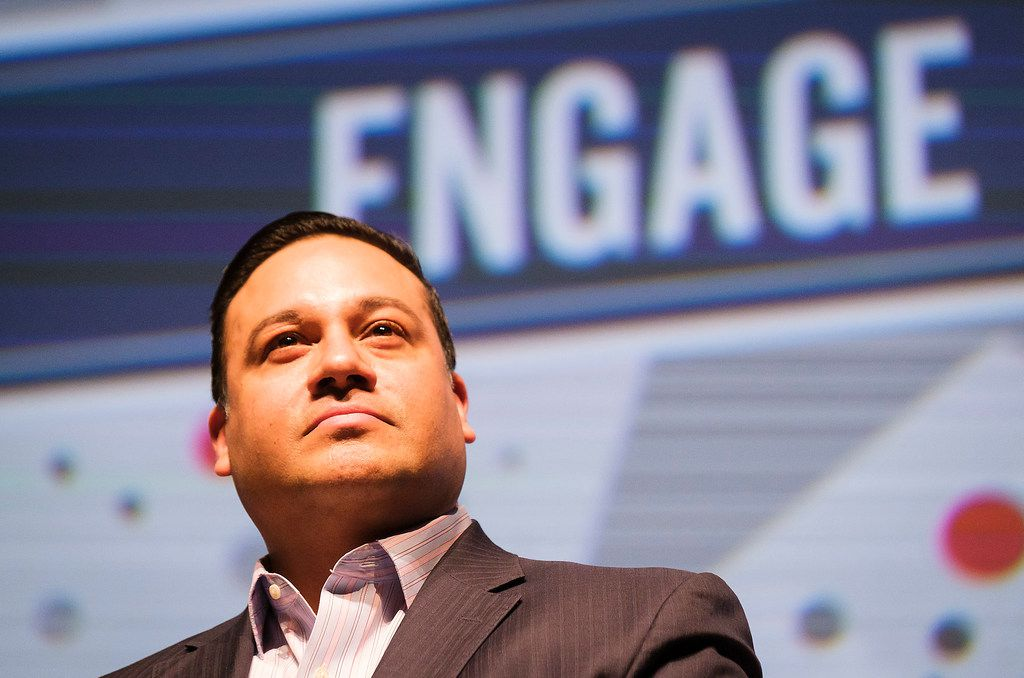 Dallas mayoral candidate Jason Villalba participates in the Engage Dallas 2019 Mayoral Candidates Forum hosted by the Mayor's Star Council at the Music Hall at Fair Park on Friday, March 8, 2019, in Dallas. (Smiley N. Pool/The Dallas Morning News)