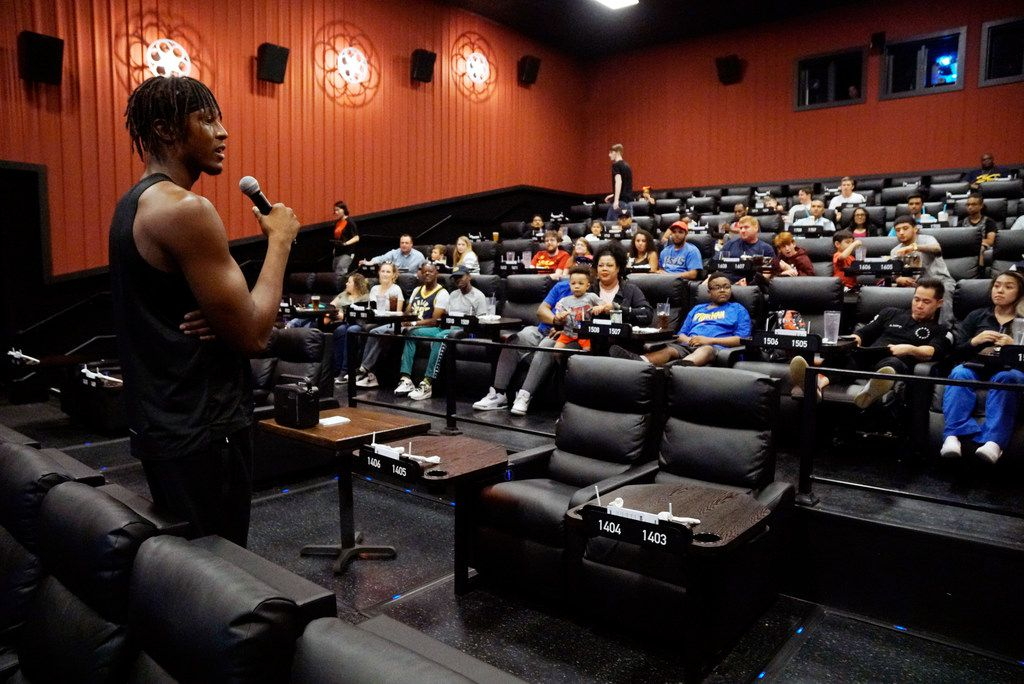 Indiana Pacers Center Myles Turner speaks to an audience before a sneak preview of the new Spider Man movie at Alamo Drafthouse in Dallas, Texas on Wednesday, June 26, 2019.  (Lawrence Jenkins/Special Contributor)