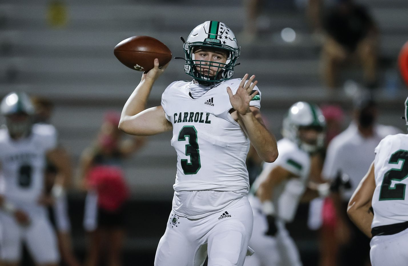 Southlake Carroll junior quarterback Quinn Ewers (3) throws during the first half of a high school football game against Rockwall at Wilkerson-Sanders Stadium in Rockwall, Thursday, October 8, 2020. (Brandon Wade/Special Contributor)