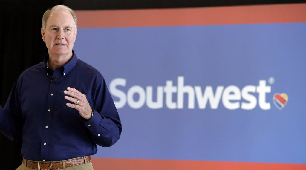 Southwest Airlines CEO Gary Kelly speaks during a preview of the new international concourse at Houston Hobby Airport  Thursday, Oct. 8, 2015, in Houston.  (AP Photo/Pat Sullivan