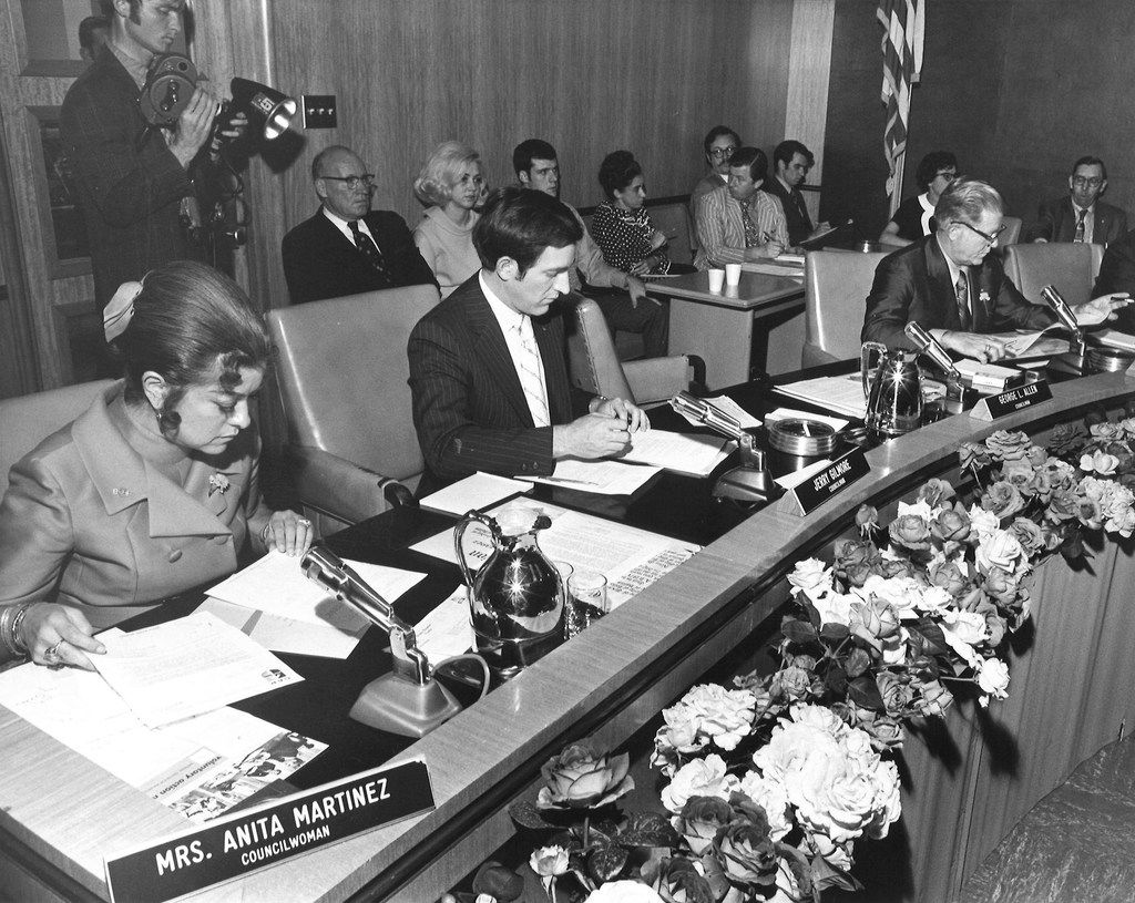 Anita Martinez (far left), Dallas' first Hispanic on the City Council, shown in May 1971.