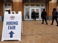 People arrive for a Dickies Arena job fair where unemployed Texans can apply for positions at the Fort Worth venue, March 22, 2021. (Tom Fox/The Dallas Morning News)