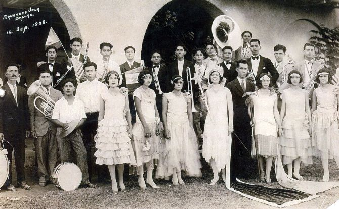 A group celebrates Fiestas Patrias on Sept. 16, 1928, at Pike Park in Little Mexico. This is the photo that graces the cover of Sol Villasana's 2011 book about his neighborhood, which no longer exists.