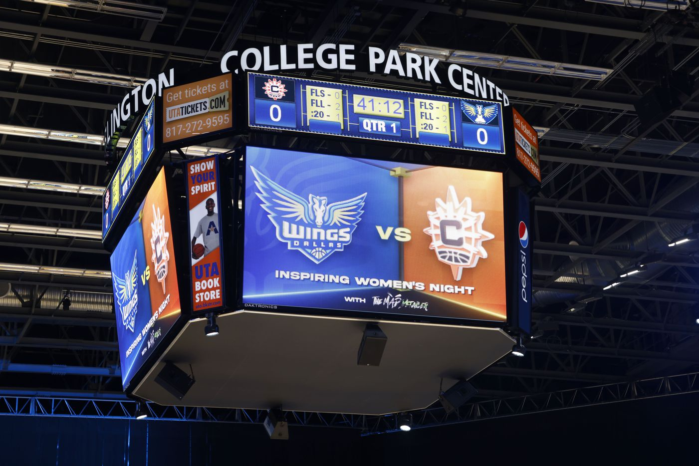 The scoreboard prior to a WNBA basketball game between the Connecticut Sun and the Dallas Wings in Arlington, Texas on Tuesday, Sept. 07, 2021. (Michael Ainsworth/Special Contributor)