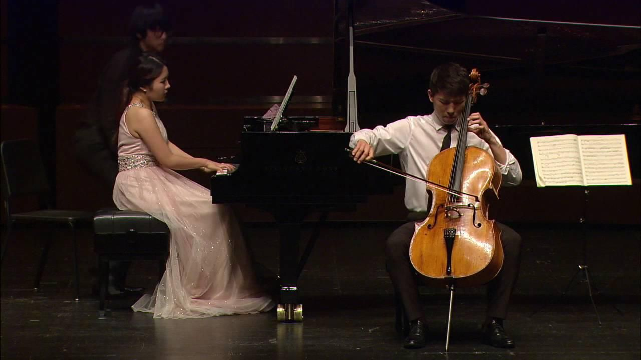 Cellist Taeguk Mun performing with piano accompaniment. (New England Conservatory)