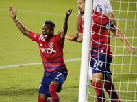 FC Dallas forward Jader Obrian (7) questions his goal which was disallowed next to FC Dallas defender Matt Hedges (24) during the first half as FC Dallas hosted Real Salt Lake at Toyota Stadium in Frisco on Wednesday night, October 27, 2021.