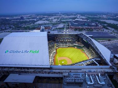 Aerial view of Globe Life Field on Thursday, March 26, 2020, in Arlington, Texas.
