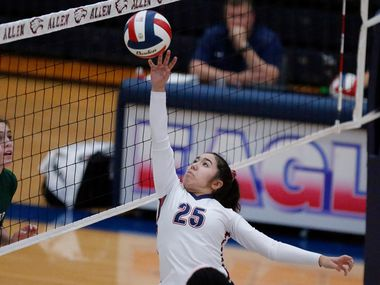 Allen High School setter Emma Vu (25) tips the ball over the net during game two as Allen High School hosted Prosper High School in a District 9-6A volleyball match in this 2019 file photo. (Stewart F. House/Special Contributor)