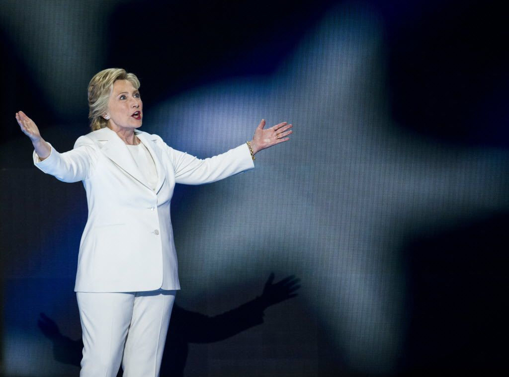 Democratic presidential candidate Hillary Clinton takes the stage during day four of the Democratic National Convention. (Ashley Landis/The Dallas Morning News)