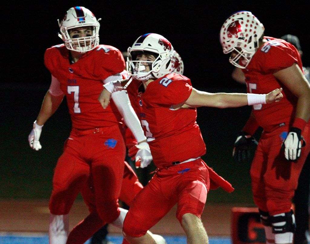 Parish Episcopal QB Preston Stone (2) celebrates after scoring a touchdown during the first half of a high school football game against Prestonwood Christian at Gloria Snyder Stadium in Dallas on Friday, October 26, 2018. (John F. Rhodes / Special Contributor)