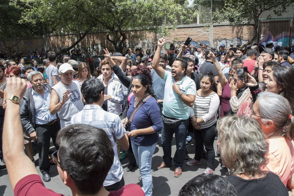 People in Mexico City react to the lack of ballots in the polling station on July 1, 2018 in Mexico City, Mexico.