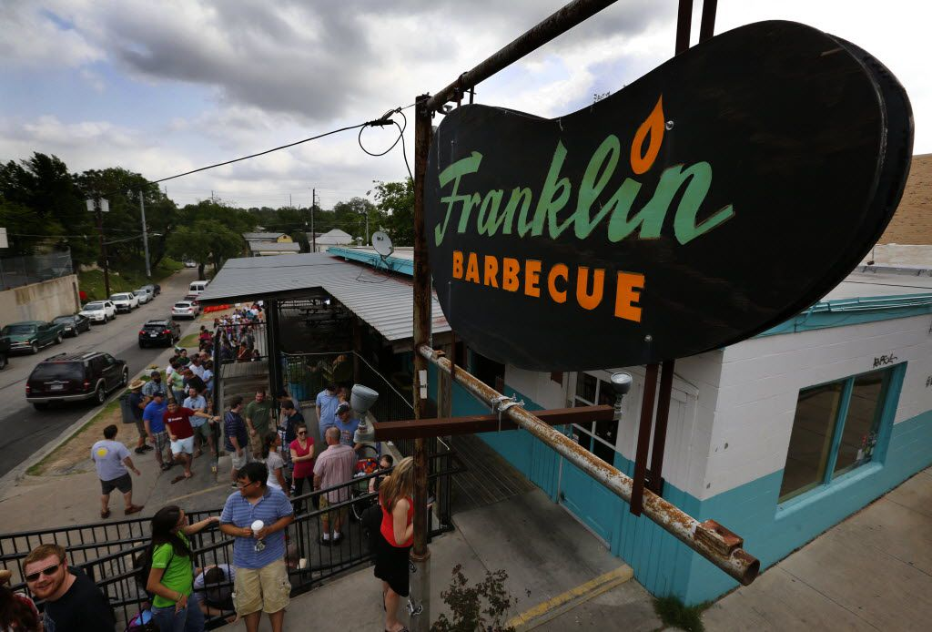 Long lines form outside Franklin Barbecue in Austin, Texas, Wednesday, April 17, 2013 during the Austin BBQ Tour. (Tom Fox/The Dallas Morning News) 04272013xBRIEFING 04282013xTRAVEL