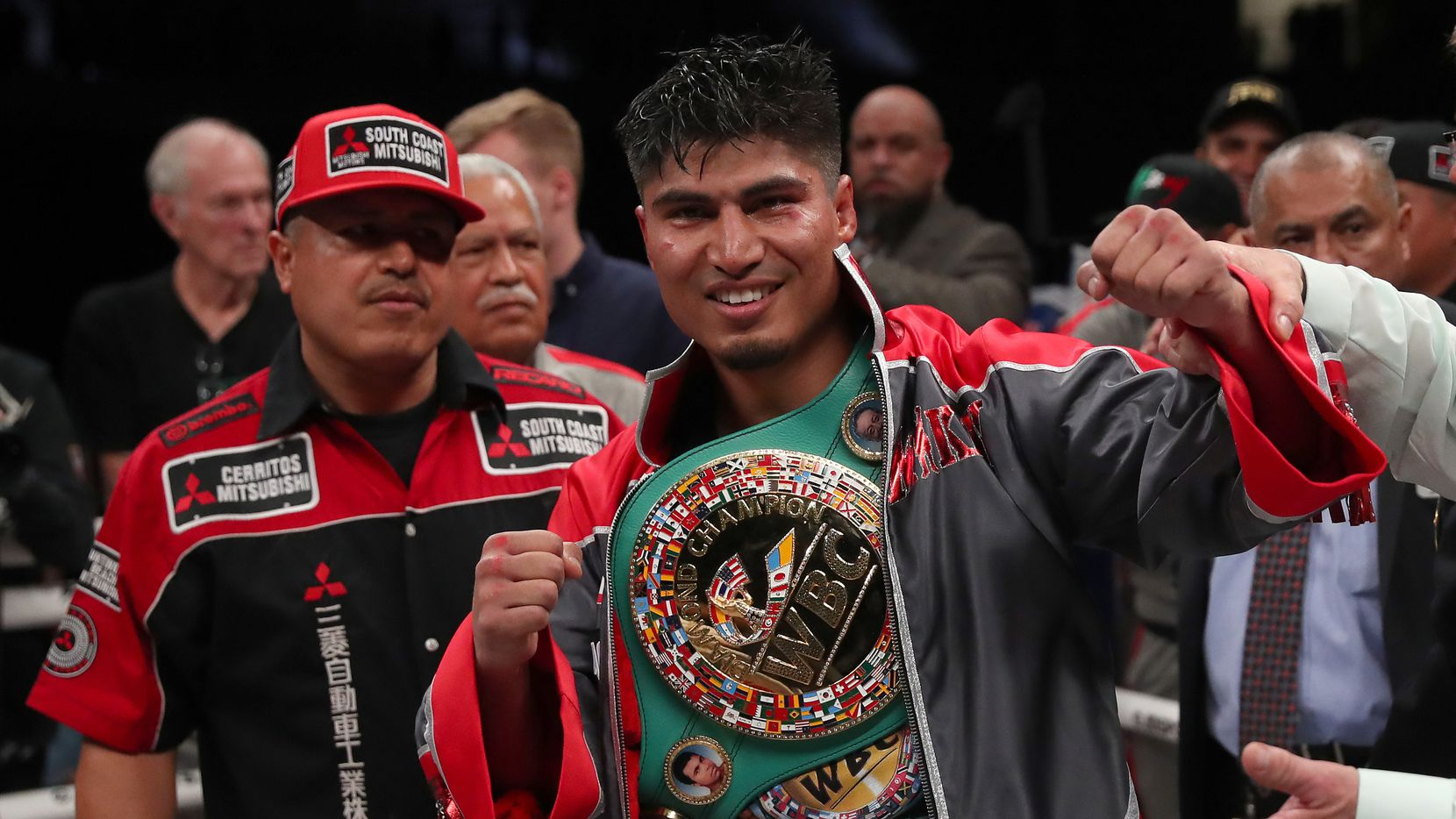 FRISCO, TEXAS - FEBRUARY 29: Mikey Garcia celebrates after defeating Jessie Vargas in a unanimous decision in a WBC Welterweight Diamond Championship bout at The Ford Center at The Star on February 29, 2020 in Frisco, Texas.