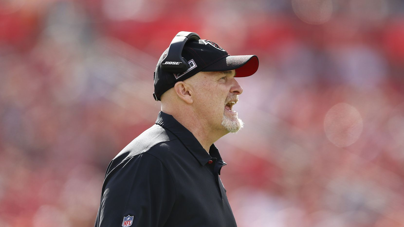 Head coach Dan Quinn of the Atlanta Falcons reacts against the Tampa Bay Buccaneers during the first half at Raymond James Stadium on December 29, 2019 in Tampa, Florida.