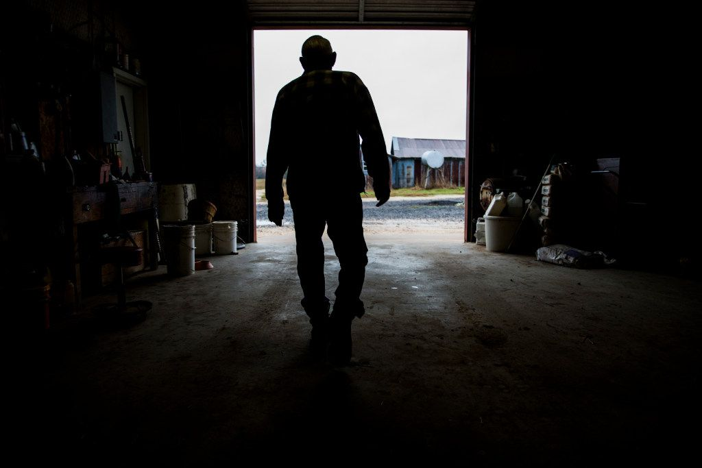 John Stoneham walks out of a barn at his ranch, which has been owned by his family for nearly 150 years. (Ashley Landis/The Dallas Morning News)