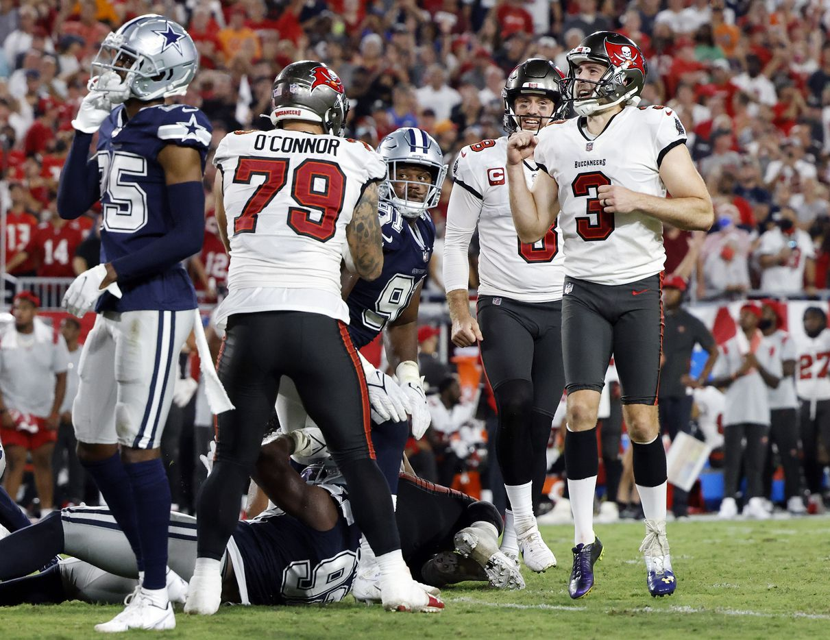 Tampa Bay Buccaneers place kicker Ryan Succop (3) reacts after kicking the winning field goal late in the fourth quarter against the Dallas Cowboys at Raymond James Stadium in Tampa, Florida, Thursday, September 9, 2021. The Cowboys faced the Tampa Bay Buccaneers in the NFL season opener. (Tom Fox/The Dallas Morning News)