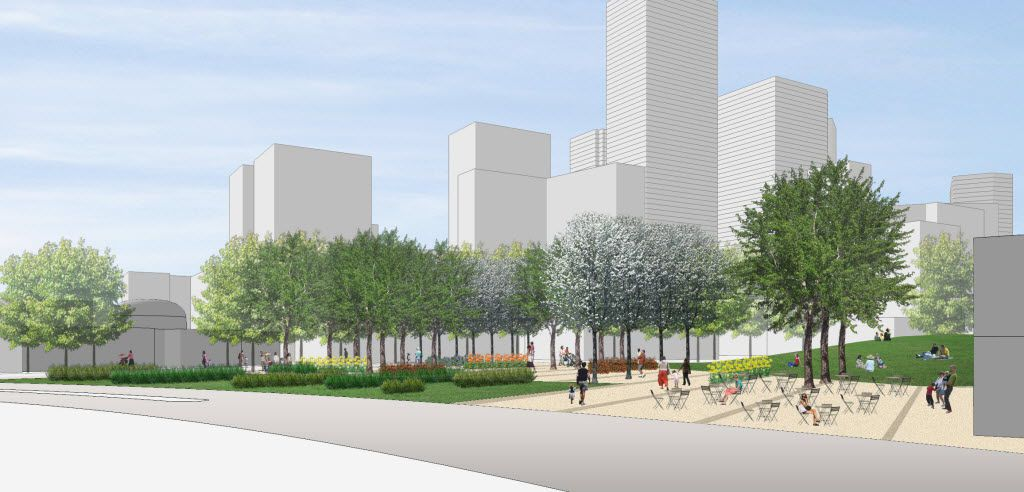 A conceptual rendering showing a view of the location for Harwood Park, seen from Young Street looking north.  The Belo Foundation announced an ambitious plan Thursday, Oct. 29, 2015 to realize a longstanding vision for downtown by creating 17 acres of new green space through the construction of four major parks. The plan calls for $70 million in private and public funding to build the parks within the next 10 years, with the Belo Foundation pledging $30 million toward the effort. The four parks Ã' Harwood Park, Carpenter Park, Pacific Plaza and West End Plaza Ã' were listed as high priorities in the 2013 update of the downtown parks master plan.