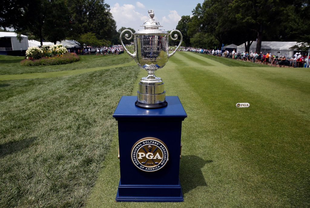 FILE - The Wanamaker Trophy is seen during the first round of the PGA Championship golf tournament at Bellerive Country Club, Thursday, Aug. 9, 2018, in St. Louis. (AP Photo/Brynn Anderson)
