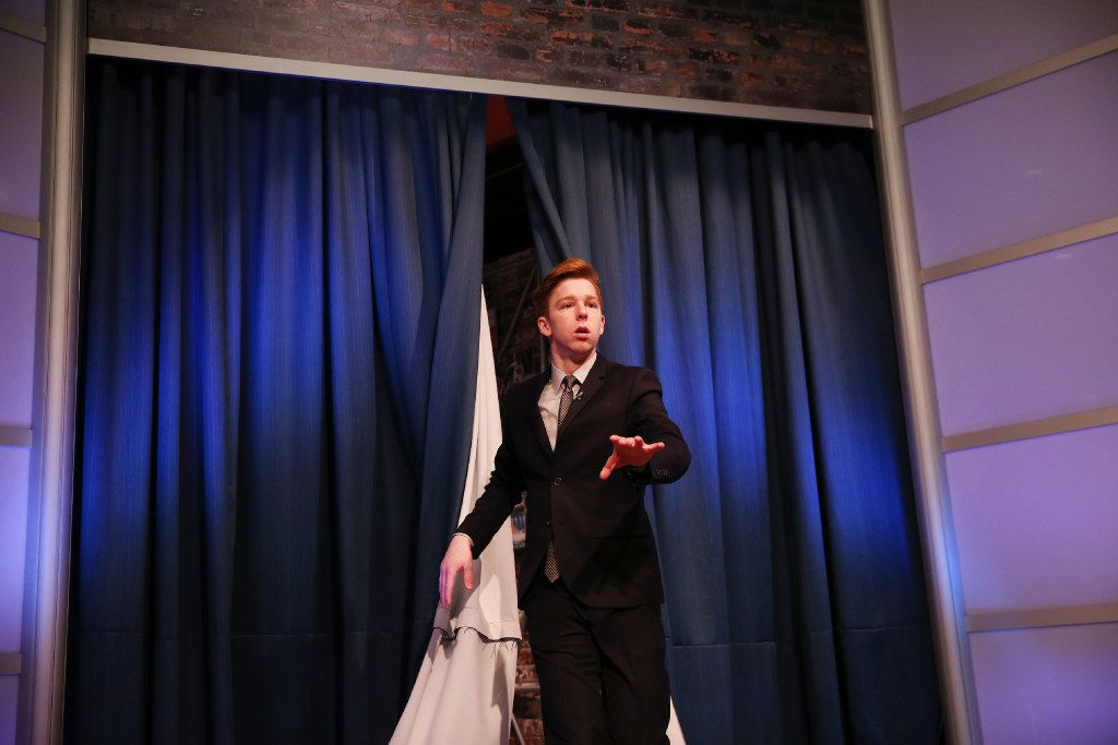 Brady Powers, a senior, performs a joke during a filming of the sixth episode of The Mid-Morning After 10, But Still Just Before Lunch Show at Prosper High School. (Andy Jacobsohn/The Dallas Morning News)