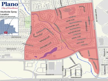The city planned to spray for moquitoes in this area on Tuesday night.