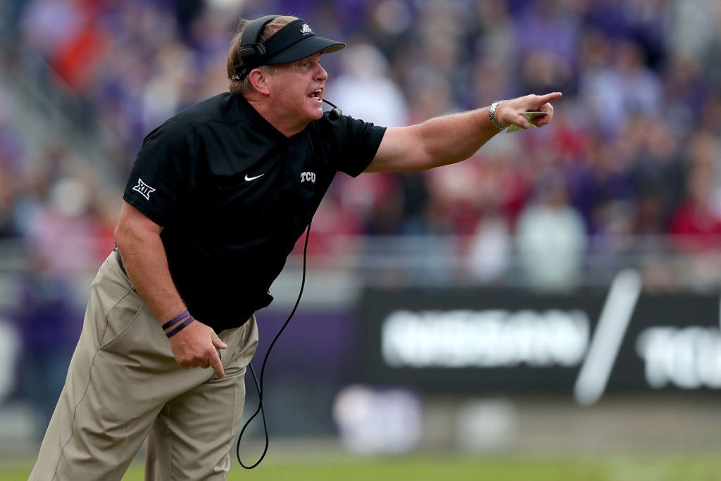 Head coach Gary Patterson of the TCU Horned Frogs heads his team against the Oklahoma Sooners in the first half at Amon G. Carter Stadium on October 20, 2018 in Fort Worth, Texas. (Tom Pennington/Getty Images/TNS) *FOR USE WITH THIS STORY ONLY*