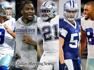 Members of the all-decade team: (From L to R): Tony Romo, DeMarcus Lawrence, Ezekiel Elliott, Sean Lee, Dez Bryant