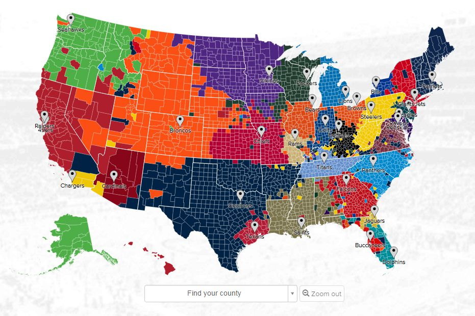 Not surprisingly, most of Texas is dominated by Dallas Cowboys fans...at least, on Twitter. Screenshot via Twitter.