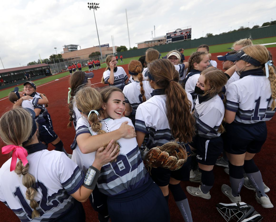 Flower Mound High School players cheer after winning a softball playoff game against Allen High School at Allen High School in Allen, TX, on May 15, 2021. (Jason Janik/Special Contributor)