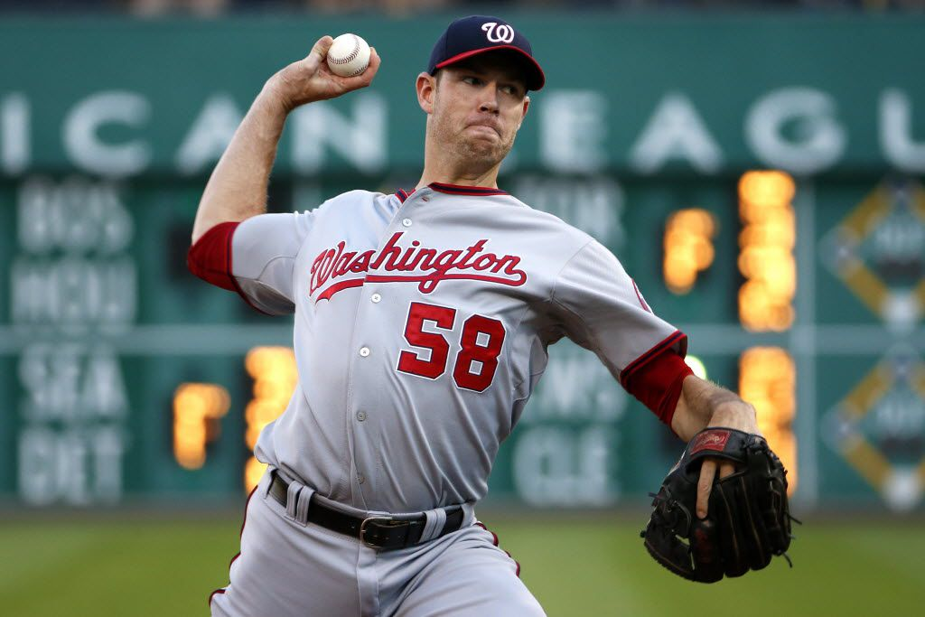 FILE - In this July 23, 2015, file photo, Washington Nationals starting pitcher Doug Fister (58) delivers a pitch during the first inning of a game against the Pittsburgh Pirates in Pittsburgh.  (AP Photo/Gene Puskar, File)